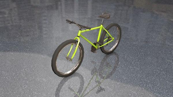 generic yellow mountain bike 3D