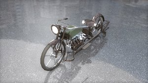 3D model antique vintage militaire motorcycle