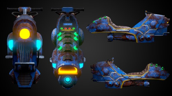 3D sci-fi flying motorcycle