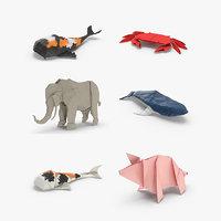 origami animal 3D model