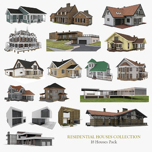3D residential houses 18 pack