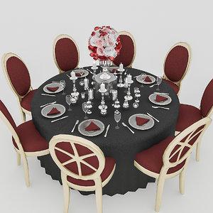 3D model black wedding table