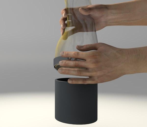 hands closing 3D model