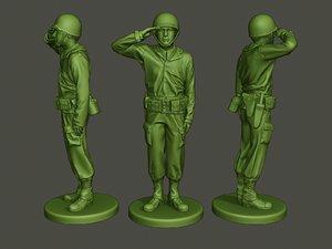 american soldier ww2 saluting 3D