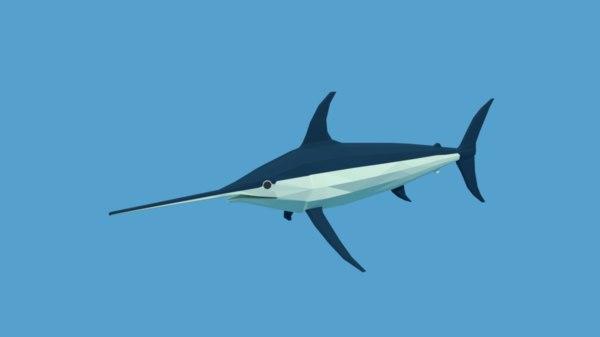 cartoon swordfish fish model