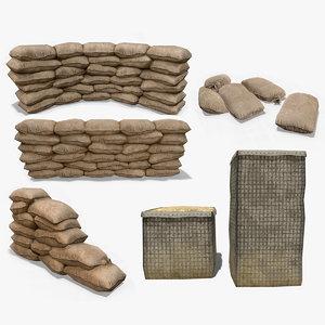 3D sandbags hesco barrier ar model