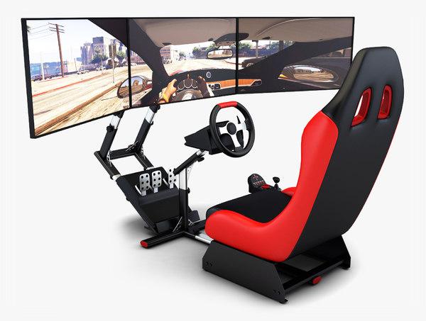 racing simulator triple display 3D