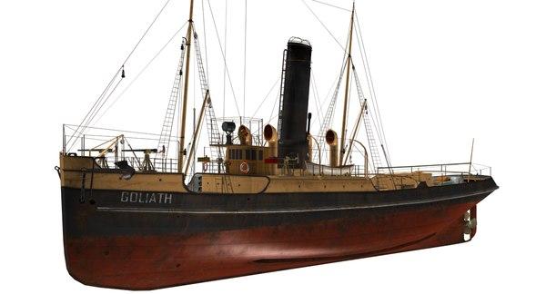 goliath tug boat vessel 3D model