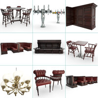 3D english pub set furniture model