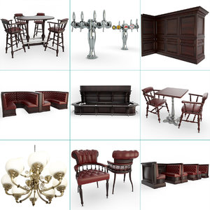 3D english pub set furniture model