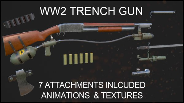 3D model world war 2 trench