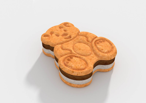 3D teddy bear sandwich ice cream model