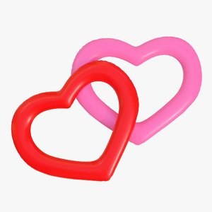 3D realistic ring heart 01 model