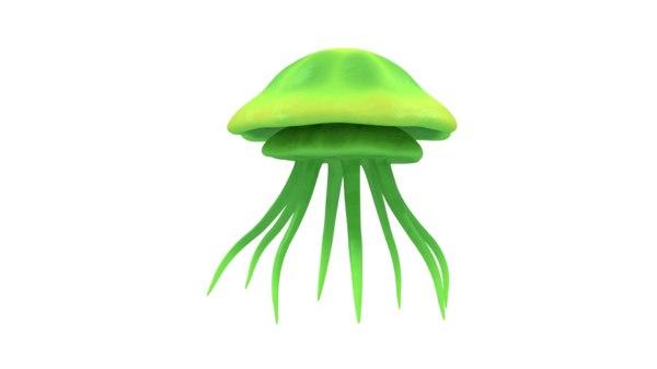 3D model green jellyfish