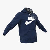 3D blue nike hoodie lowered model