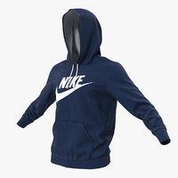 blue nike hoodie raised 3D