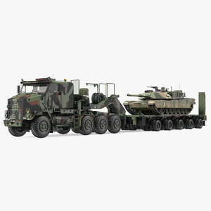 oshkosh m1070 tank transporter 3D model