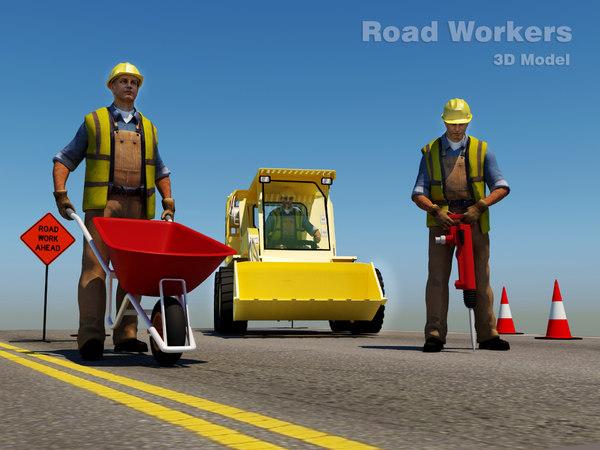 road workers scene 3D
