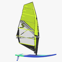 windsurf board sail surfing 3D model