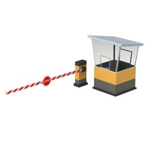 cartoon security booth 3D