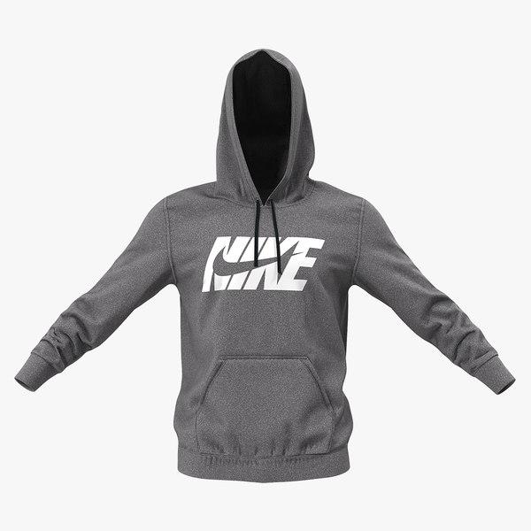 3D model grey nike hoodie raised
