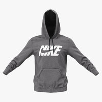 3D model grey nike hoodie raised