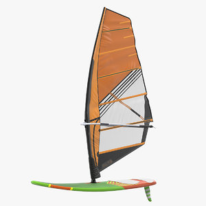 3D sport windsurf board sail model