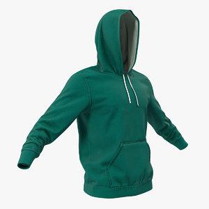 3D hoodie raised hood model