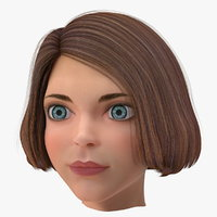 cartoon young girl head 3D model