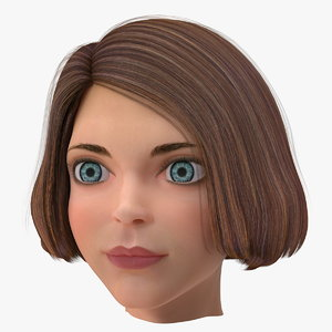 cartoon young girl head 3D model