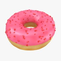 3D realistic ring donut strawberry