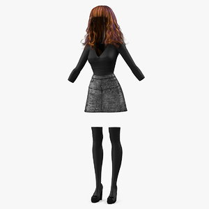 3D young girl youth clothes model