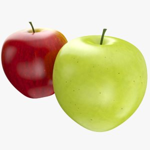 apple fruits red green 3D model