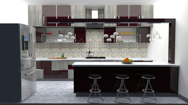 3D model modular kitchen