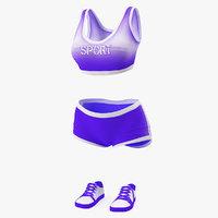 girl sport suit set 3D model