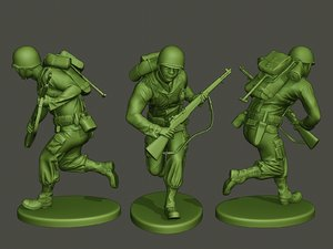 3D american soldier ww2 running