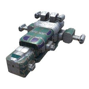 3D spaceships missile corvette model