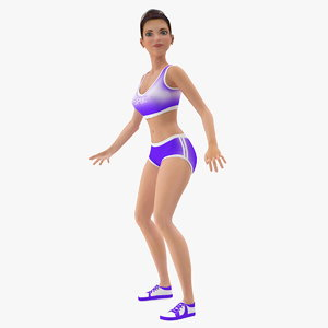 cartoon young girl sportive 3D