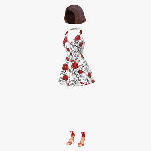 girl summer dress heel shoes 3D model