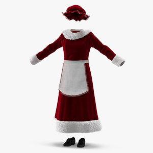 3D mrs claus costume model