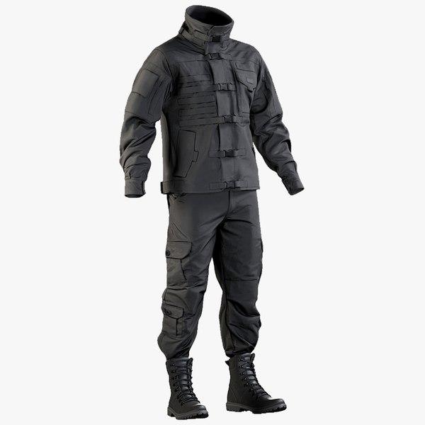 3D realistic black swat uniform model