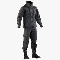 Black SWAT Uniform With Boots (2 cloth sides)