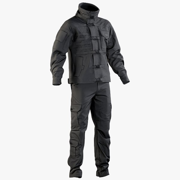 realistic black swat uniform 3D model