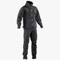 realistic black swat uniform 3D model