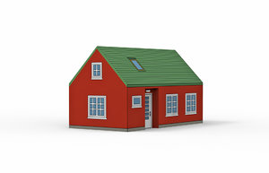 3D red house model