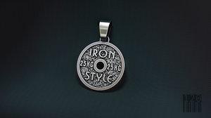 3D jewelry pendant iron style