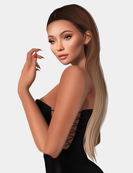 female hairstyle rigged 3D model