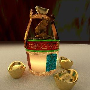 3D chinese gold ingot pig