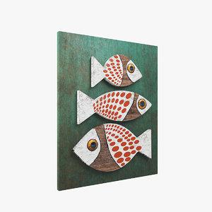 3D wood fish model