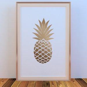 3D picture frames pineapple golden model